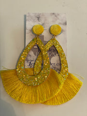 Yellow Fringe Earrings, Yellow Earrings