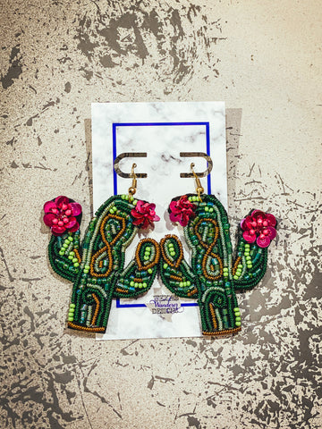 green cactus earrings, pink cactus earrings