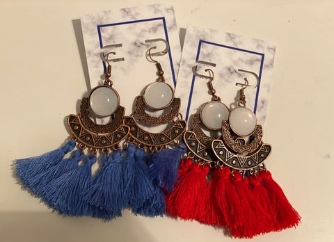 Aztec Circle Fringe Earrings