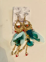 Blue Statement Feather earrings