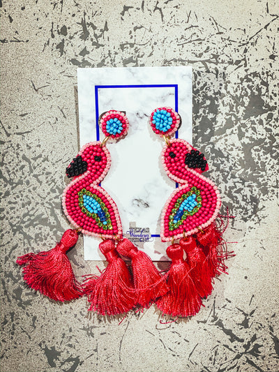 Flamingo Fringe Beaded Earrings