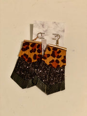 Leopard Black Glitter Earrings