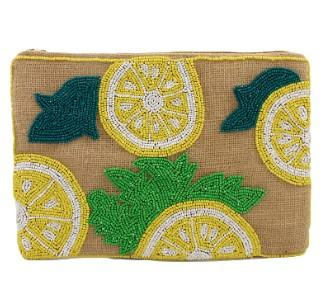 Lemon Beaded Purse, Summer Clutch