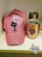 Texas Wine Glitter Ball Cap