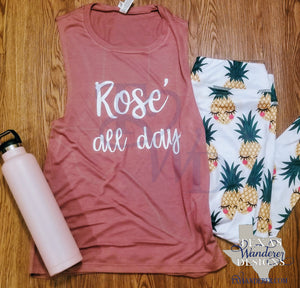 Rose All day Workout Tank Top