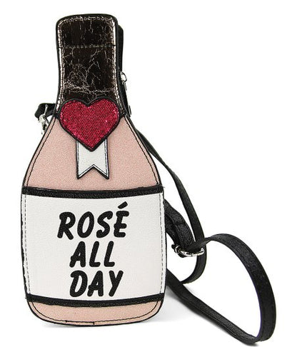 Rose All Day Champagne Bottle Glitter Purse