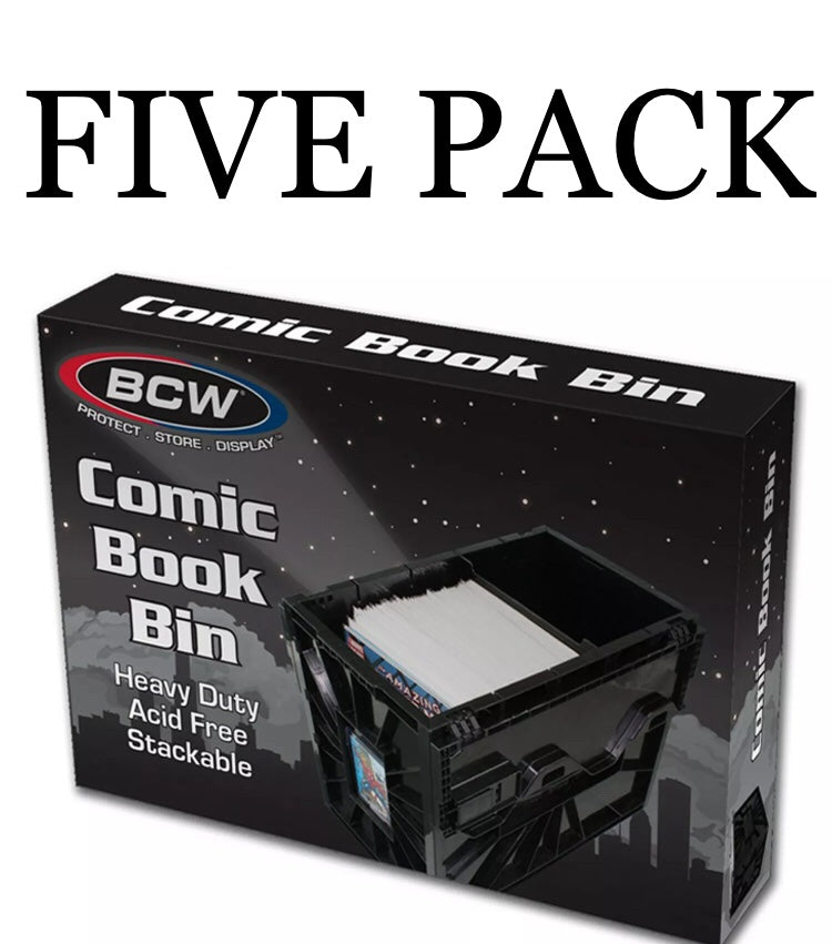 Five Pack of BCW raw comic storage bins.