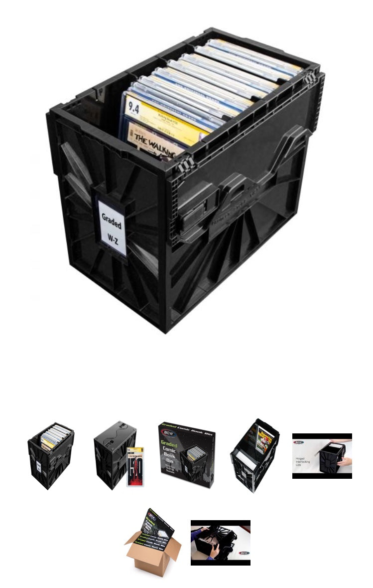 Five Pack of BCW graded comic storage bins.