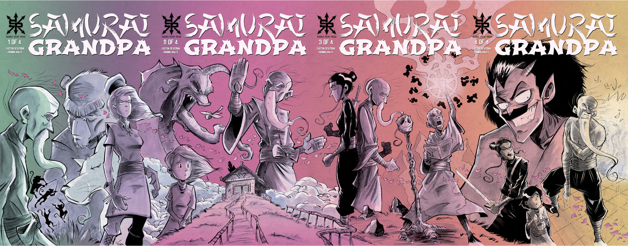 Samurai Grandpa 1-4, CGC 9.8 - Connecting Variants, Trade Dress