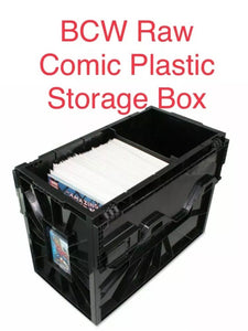 One BCW raw comic storage bin.