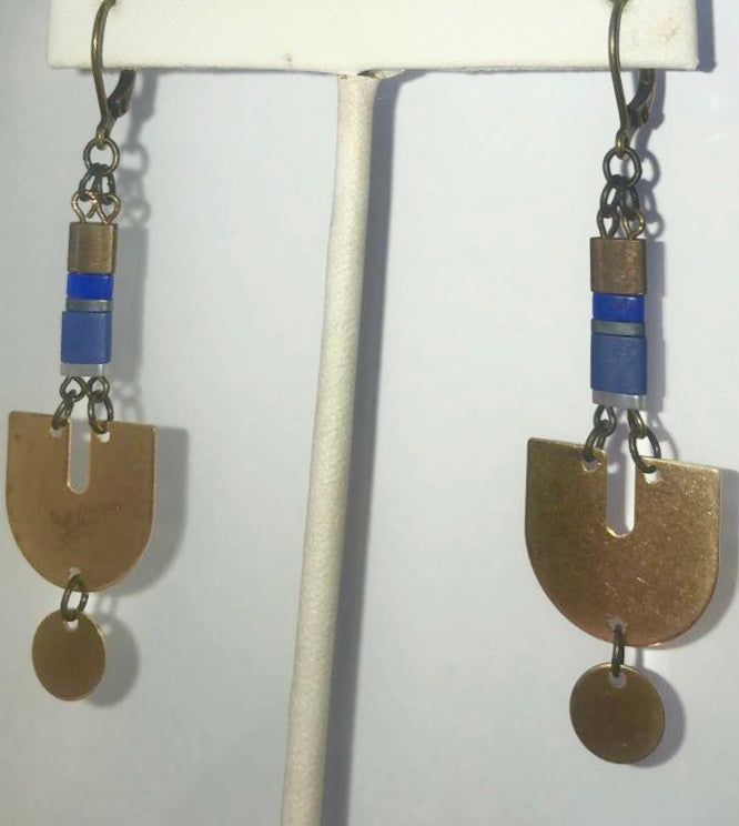 Gold and blue dangle earring