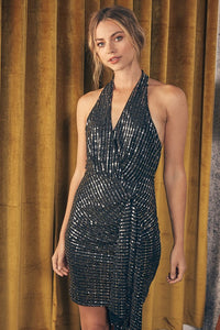 Knitted Halter Glitter Dress
