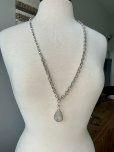Long Silver Chain with Stone