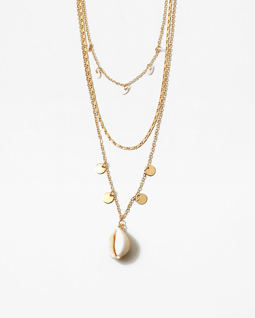 Layered Gold Chains With Puka