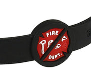 Silicone Sport Wristband -  Fire Department - Black / Grey