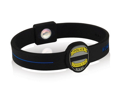 Silicone Sport Wristband - Police Department (Blk/Blue)