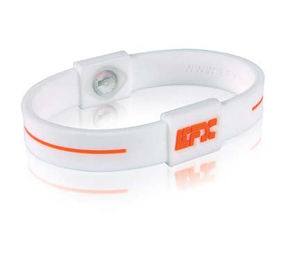Silicone Sport Wristband - White / Orange