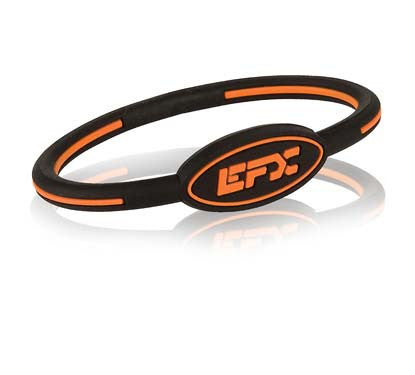 Silicone Oval Wristband - Black / Orange - 7""