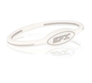 Silicone Oval Wristband - White / Grey - 7""