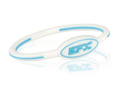 Silicone Oval Wristband - White / Blue - 7""