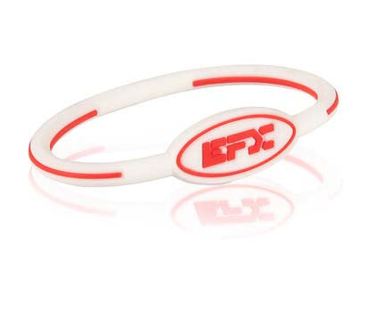 Silicone Oval Wristband - White / Red - 7""