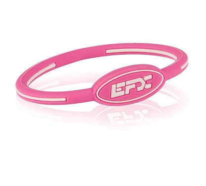 Silicone Oval Wristband - Pink / White
