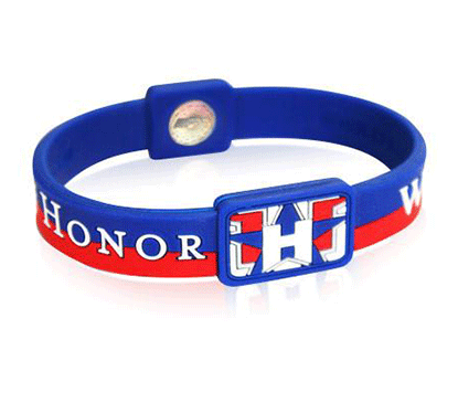 Silicone Sport Wristband - Folds Of Honor (Blue/Red)