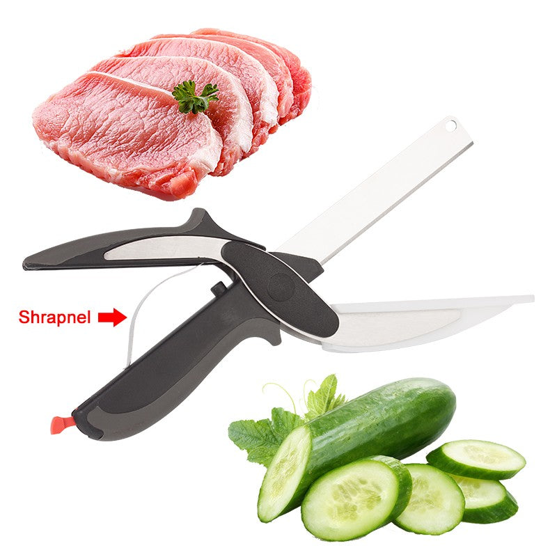 2 In 1 Stainless Steel Kitchen Knife Scissors - Kitchen Ideas Store