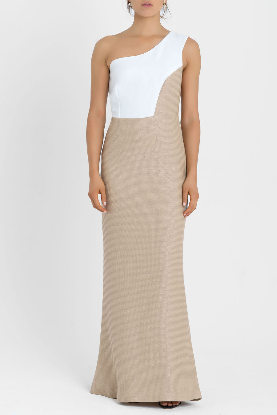 DUNE DRESS IN WHITE AND BEIGE