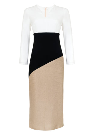 SABANNAH DRESS WHITE, BLACK AND BEIGE