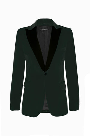 MEN TUXEDO BLAZER IN CHRISTMAS GREEN VELVET