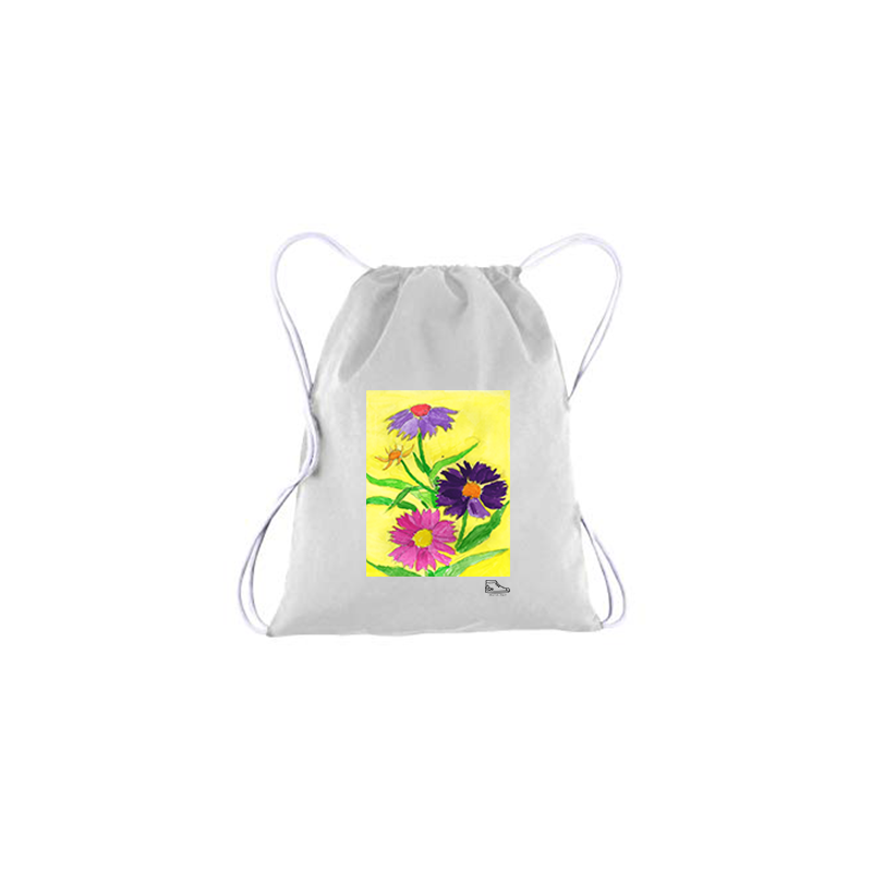 Estella Levin Colorful Flowers Drawstring Bag