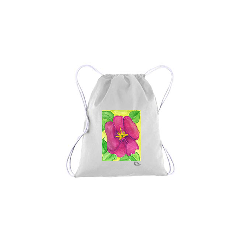 Estella Levin Pink Flower Drawstring Bag