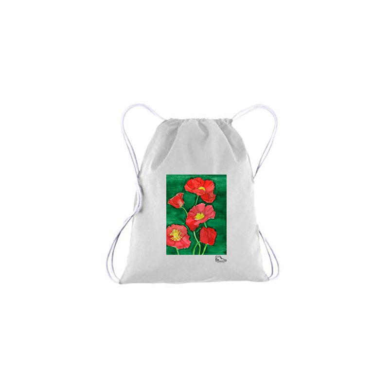 Estella Levin Red Flower Drawstring Bag