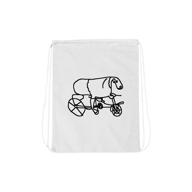 Joe Wilson Sheep on a Bike Drawstring Bag