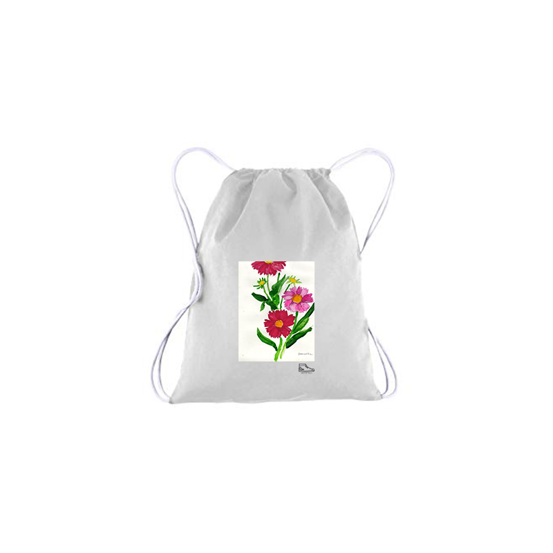 Sam Potashnick Flowers Drawstring Bag
