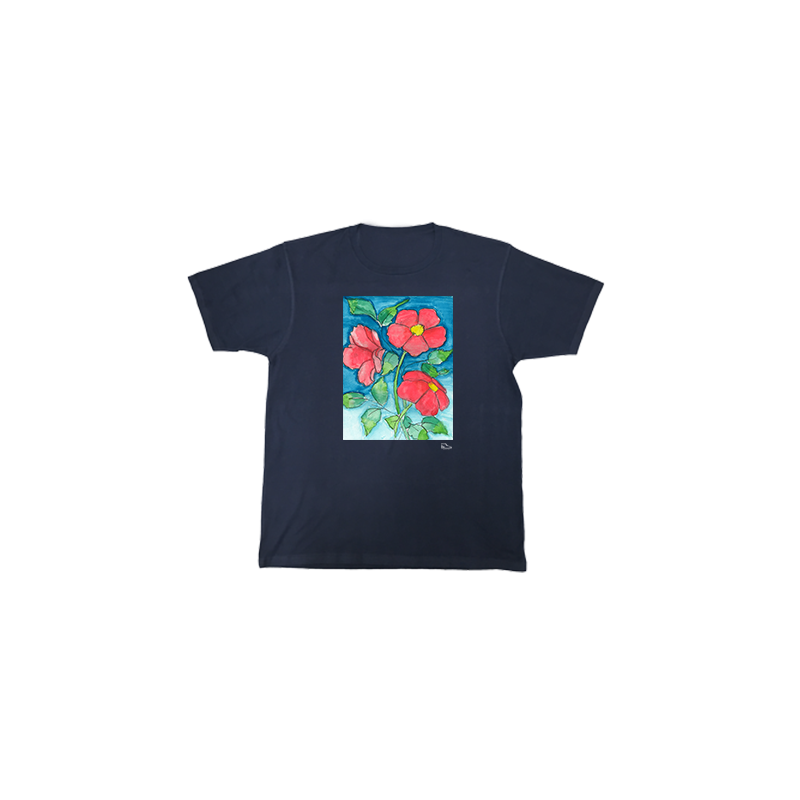 Sam Potashnick Red Flowers Short Sleeve