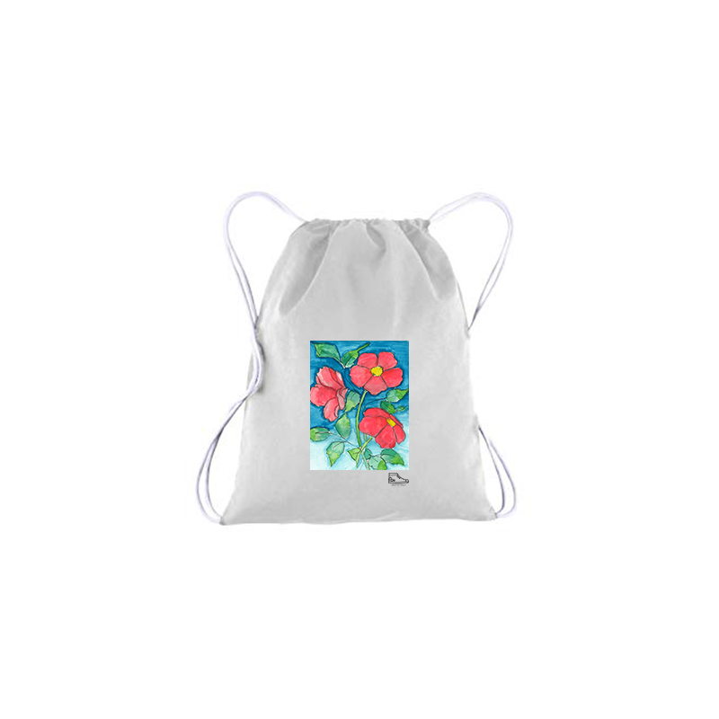 Sam Potashnick Red Flowers Drawstring Bag