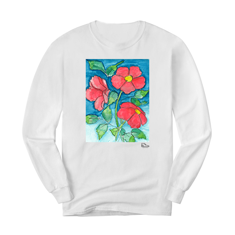 Sam Potashnick Red Flowers Long Sleeve