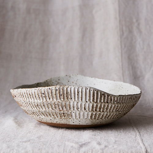 Carved Eggshell Serving Bowl - Spotty White