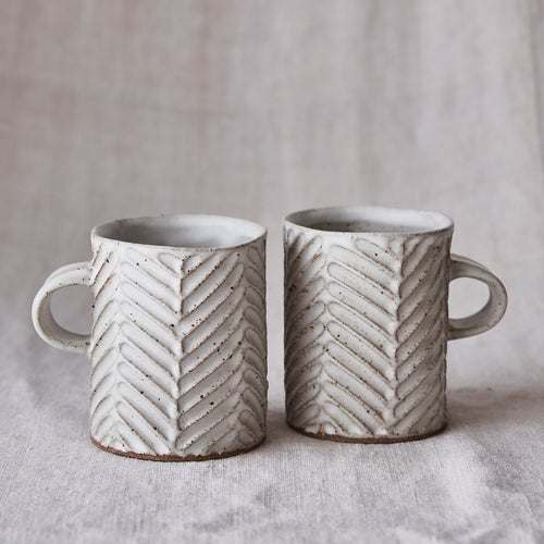 Chevron Mug - Speckle White