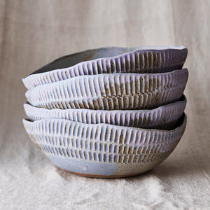 Carved Eggshell Serving Bowl - Lavender