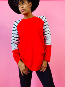 Red Color Blocked Long Sleeve Shirt