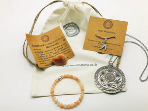 £12.00 Small Bead Crystal Bracelet New Moon Ritual Blessings Box