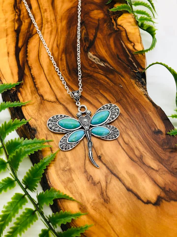 Dragonfly & Turquoise Pendant for transformation, positivity & Happiness