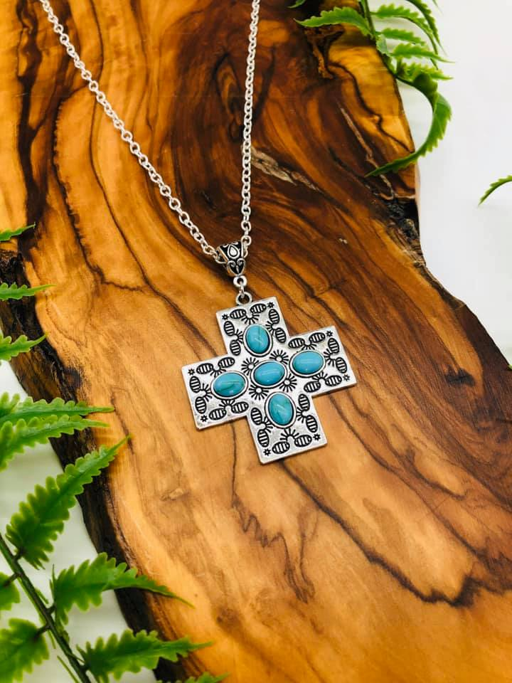 Cross & Turquoise Pendant for faith, hope, spirituality, positivity & Happiness