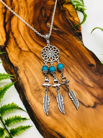 Dreamcatcher & Turquoise Pendant for Protection, positivity & Happiness