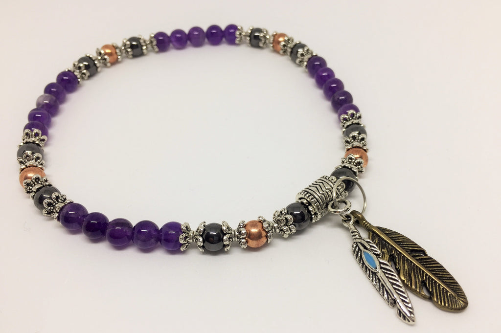 Amethyst, Magnetic Hematite & Copper Healing Anklet with feather charms