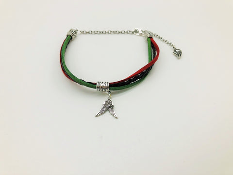 Earthy Hues Faux Suede & Leather Anklet with Angel Wing charms