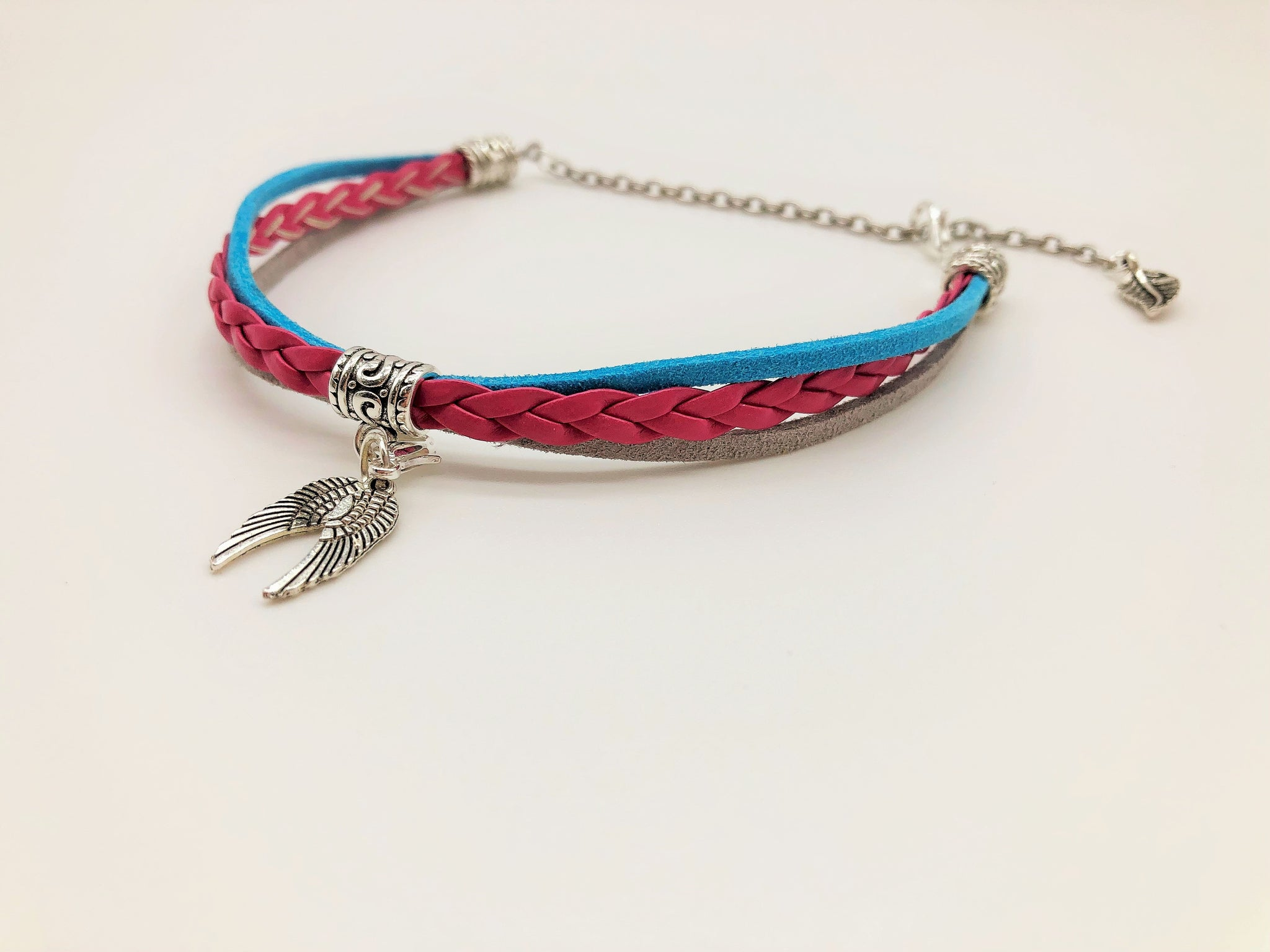 Evening Sky Faux suede & Leather Anklet with Angel Wing charms